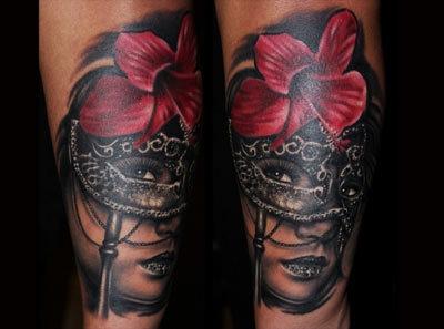 Flower mask tattoo