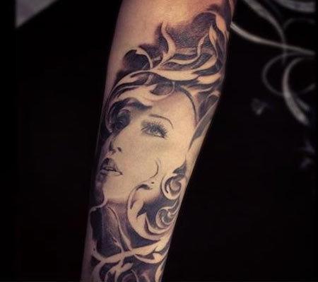 Forearm Madonna Tattoo