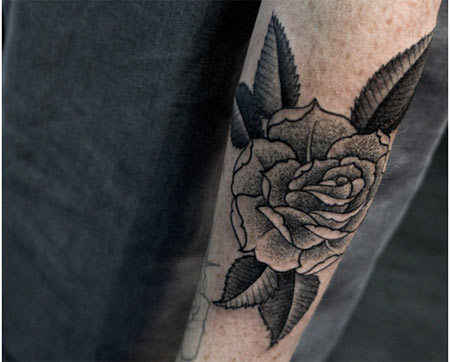 Forearm Ornate Rose Tattoo