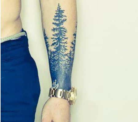 Forearm Pine Tree Tattoo