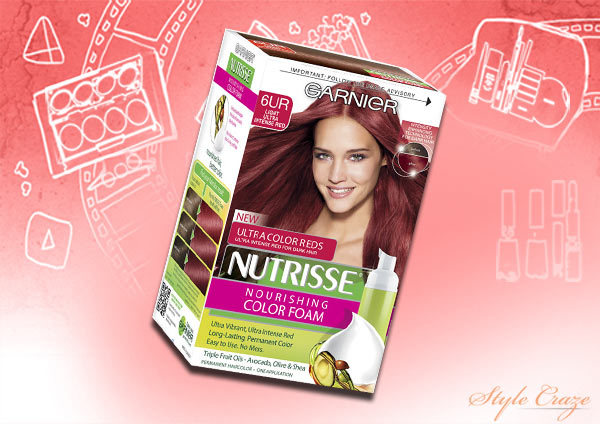 garnier nutrisse nourishing color foam permanent hair color, 6ur light ultra intense red
