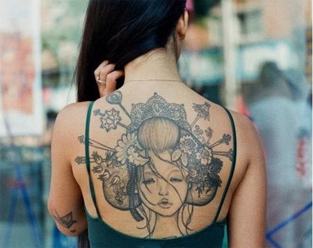 Geisha Upper Back Tattoo
