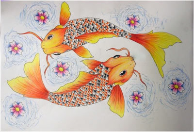 Gold Koi Fish Pisces Tattoo