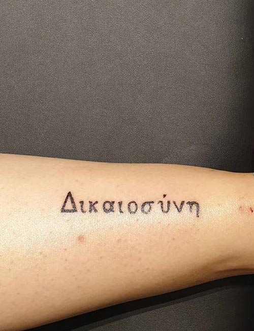 Greek Letter And Quote Tattoos On Sleeve