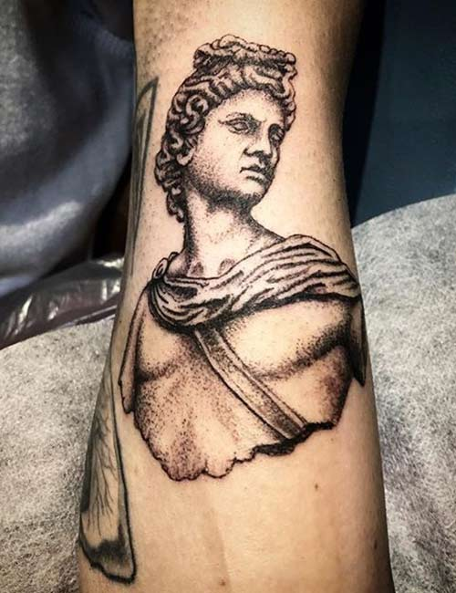 Greek Statue Tattoo On Hand