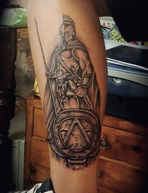 Greek Warrior Tattoo On Leg