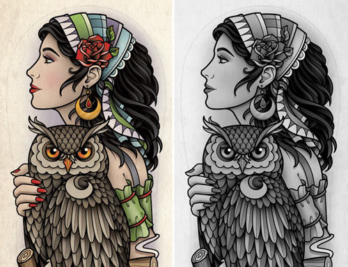 gypsy girl with owl tattoo