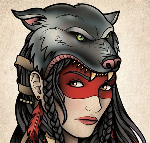 gypsy girl with wolf headgear tattoo