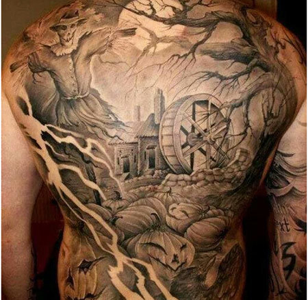 Halloween Back Tattoo