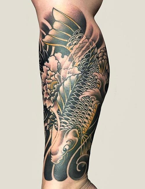 Japanese Waves Koi Tattoo with Chrysanthemum
