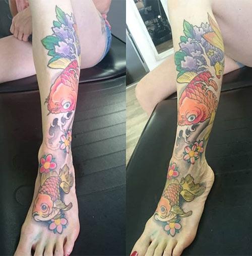 Leg Koi Fish Tattoo