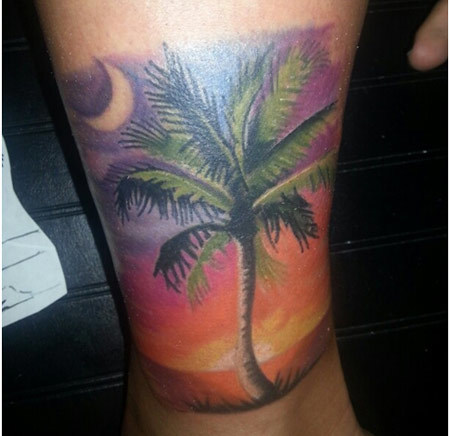 Lower Limb Palm Tree Tattoo