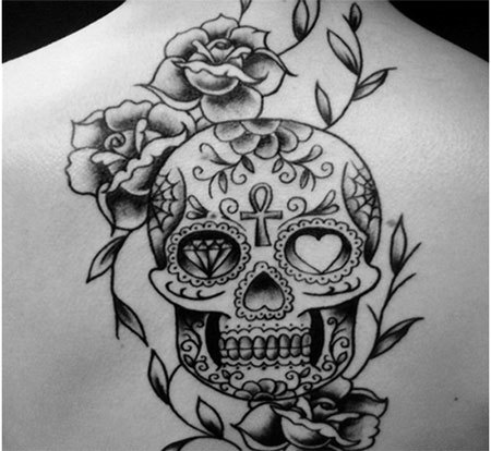 Mexican Skulls and Roses Tattoo