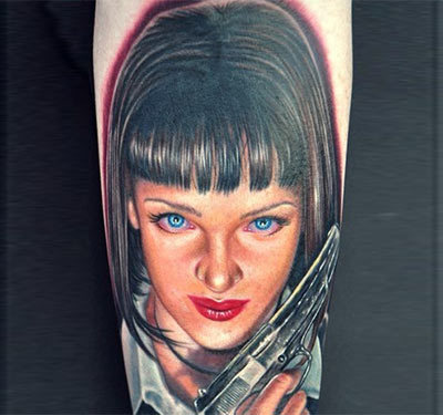 Mia Wallace Portrait Tattoo