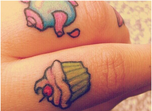 miniature cupcake tattoo