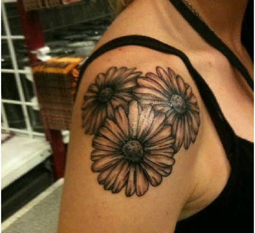 Multiple Daisies Shoulder Tattoo