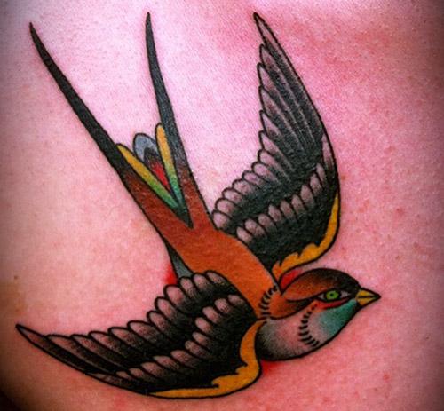 Orange Swallow Tattoo