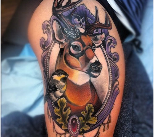 Ornate Deer Tattoo