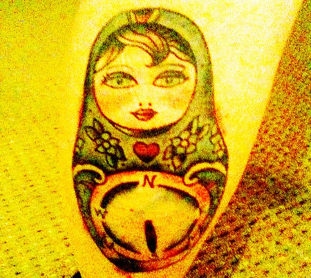 Russian Doll Compass Tattoo