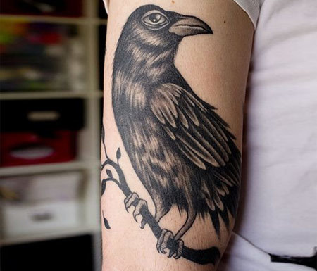 Single Raven Tattoo