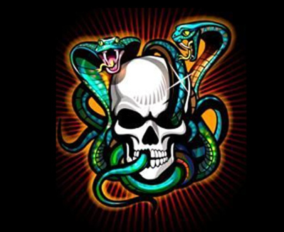 snakes and skull tattoo