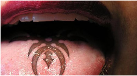 Tribal Art Tongue Tattoo