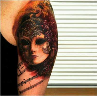 Vampire mask tattoo