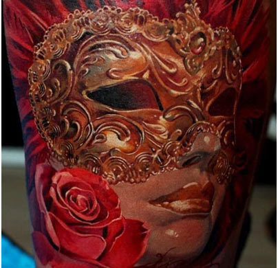 Vintage mask tattoo
