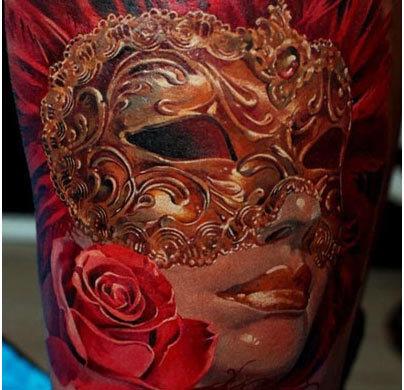 Vintage mask tattoo