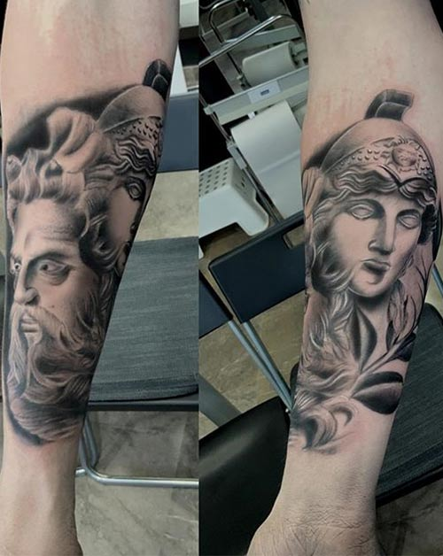Zeus And Athena Tattoos On Sleeve
