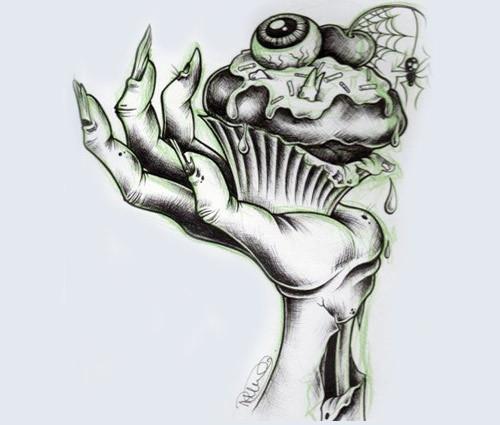 zombie cupcake tattoo