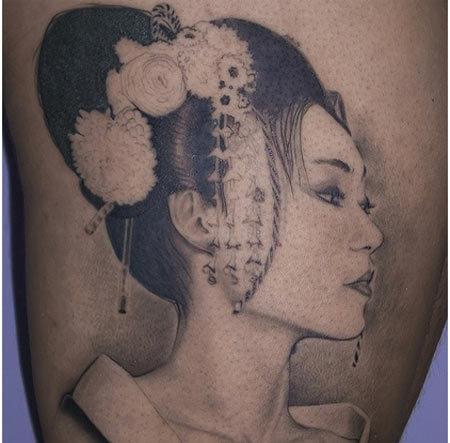 black and white geisha tattoo