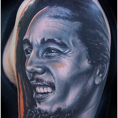 bob marley portrait tattoo