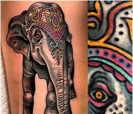color elephant tattoo