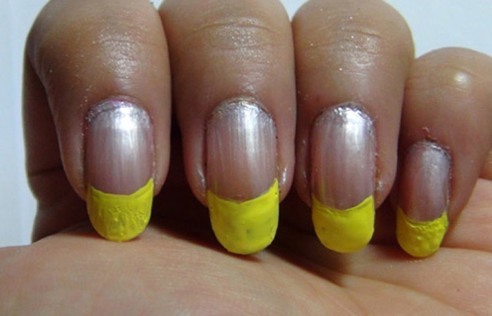 Fruit Nail Design - Step 2: Apply Yellow Paint At The End Of Tips