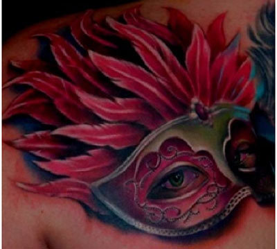 feather mask tattoo