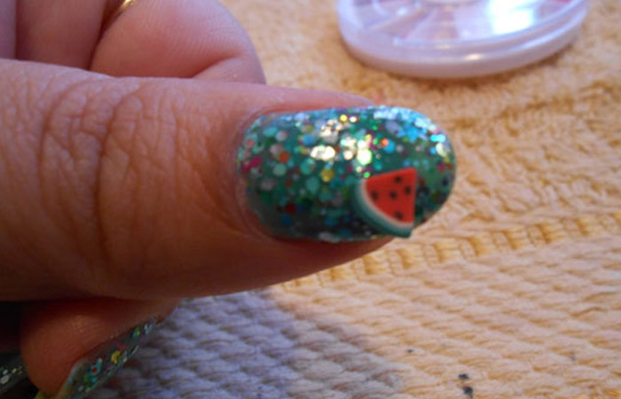 Fimo Fruit Nail Art - Step 2: Add Fimo Slices