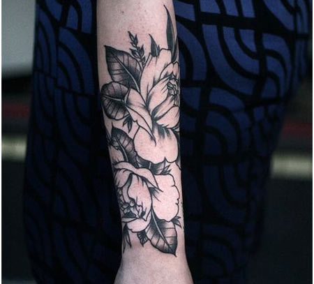 floral forearm tattoos