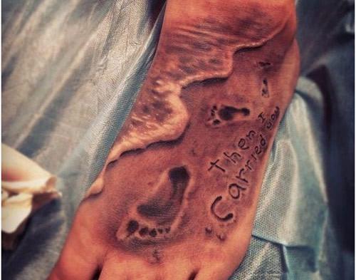 footprint tattoo on feet