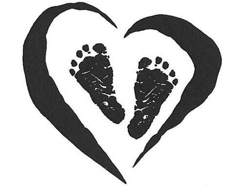 footprints in heart tattoo