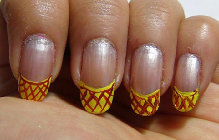 Fruit Nail Design - Step 3: Apply Diagonal Lines With Brown Polish