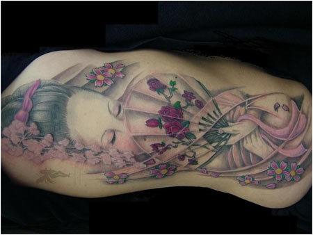 geisha color tattoos