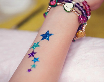 glitter star tattoos