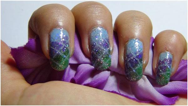 Gradient Nail Art - Step 6: Apply Glitter Polish As Top Coat