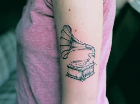 gramophone tattoo designs