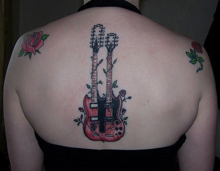 guitar and flower tattoo