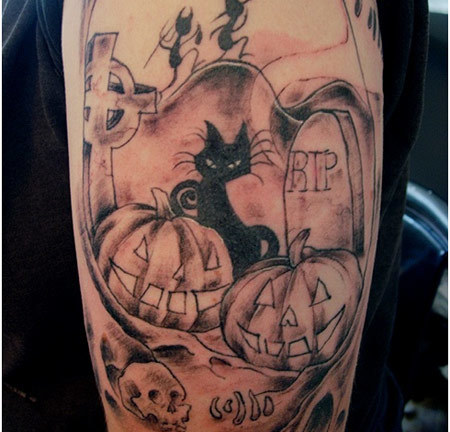 halloween arm tattoo