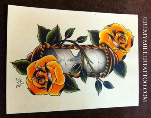 hourglass and rose tattoo