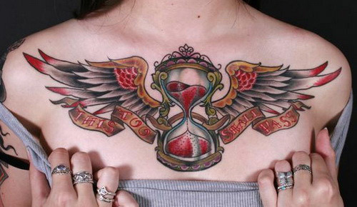 hourglass with wings tattoo