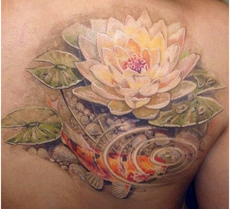 koi with lotus tattoo